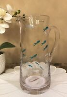 Cynthia Rowley Etched Fish Decorative GLASS Pitcher