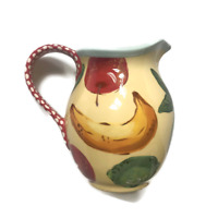 NEW Droll Designs Large Fruit Pitcher Art Yellow Red Dots Handle Hand Painted