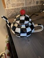 Mackenzie Childs Courtly Check Teapot (Never Used)