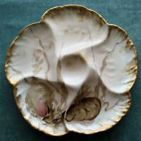 Antique charles Field Haviland/GDM Limoges Oyster Plate with Exquisite Colors #4