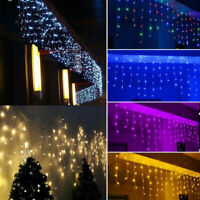 LED Icicle Curtain Light Strip Kits Waterproof for Christmas Party Decoration US