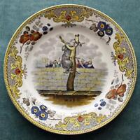 c. 1820 Antique French Faience Creil Plate quot;L#x27;ours Martinquot; Bear Martin