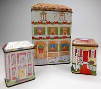 Set of 3 Vtg House Cottage Collectible Storage Tins Canisters Nestle Toll House