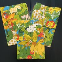 Vintage House amp; Home Screen Printed Cotton Curtain Panels 1970s Animal Print 3 $65.00