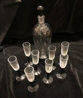 Hand Blown signed glass bottle w. stopper and 8 small glasses