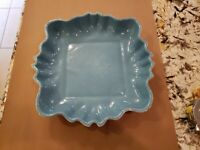 Vtg Los Angeles Pottery Serving Tray Dish Aqua Green Turquoise White Color 12x13