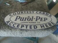 PUROL PEP GAS amp; OIL DOUBLE SIDED PORCELAIN SIGN