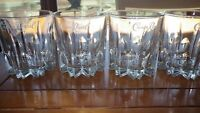 Crown Royal Whiskey Glasses Cathedral style vertical lines 4 10 oz glasses Italy