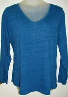 NWT Womens EVRI KOHLS Everyday Tee Long Sleeve Speckled Blue Top 2X 22 24