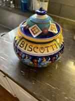 DERUTA POTTERY ITALY BISCOTTI JAR WITH LID GORGEOUS VERY NICE