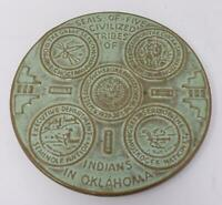 Frankoma Green Pottery Trivet Seals of 5 Civilized Tribes of Indians in Oklahoma