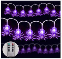 Halloween String Lights 9.8ft 20LEDs Purple Lights with Remote Control 8 Light