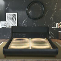 King Queen Full Size Bed Frame, PU Leather Headboard Platform with Wood Slats