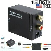Optical Coaxial Toslink Digital to Analog Audio Converter Adapter RCA L R 3.5mm $9.29