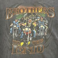 Vintage Brothers To The End Motorcycle Riding Black T Shirt