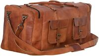 Leather Travel Duffel Bags for Men Holdall Airplane Under seat 30 Inch Luggage