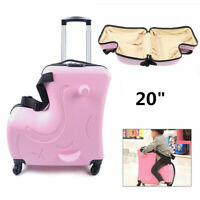 20quot; Kids Childs Travel Rolling Ride on Suitcase Pink Ride On Trolley Luggage