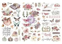 Hello Pink Autumn Rub On Transfers 6quot;X12quot; 3 Sheets
