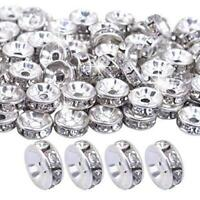 BoNaYuanDa 100pcs 8mm Silver Plated Crystal Rondelle Spacer Beads for jewelery $7.99