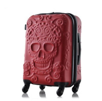 Travel Luggage Suitcase On Wheels Skull Embossed Cabin Bag Black Red 20quot; 24quot; 28quot;