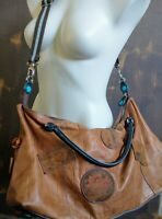 GABS Large Leather Tote Shoulder Bag Made in ITALY Travel Duffle Suede Patches