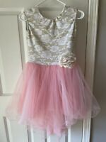 Pink with gold floral lace lyrical dance costume