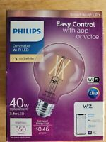 Philips Smart Bulb G25 LED 40W Dimmable Wi Fi Wiz Connected Light $9.49