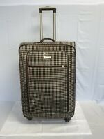 LONDON FOG Plaid 28quot; LIGHTWEIGHT SPINNER CARRY ON SUITCASE OLIVE PLAID