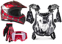 Youth Kids Chest Protector 75-100 lbs Red Helmet Gloves Goggles ATV DOT Combo