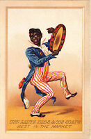 1800's Lautz Bros. & Cos Soaps Adver Trade Card Black Ethnic Musical Tambourine