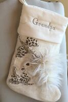Pottery Barn Woodland Squirrel Stocking Crewel Embroidered Faux Fur *Grandpa*