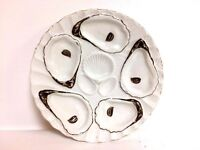Antique German Oyster Plate W/ 5 Oyster Wells and Shell Well Center
