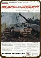 1945 CHRYSLER Vintage Look REPLICA METAL SIGN - SHERMAN TANK with GROUSER TRACKS