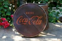 Rustic Round Metal Drink Coca Cola Thermometer 495A USA No Glass