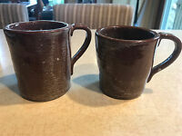 2 Fort Boonesboro Kentucky Clay Pottery Mugs Cups Handmade Each Differnent