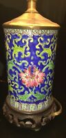 Longwy Vase Style Lamp with Wooden base and Electric Mod Complete - Neat!