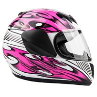 Youth Kids Motorcycle Helmet Pink Child DOT Full Face Small Medium Large XL