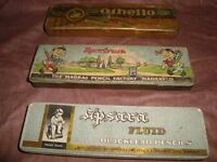 3 Old Vintage Tin  PENCIL  BOXES from India and Germany 1950
