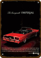 1964 CHRYSLER IMPERIAL CONVERTIBLE RED CAR Vintage Look Replica Metal Sign