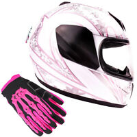 Youth Kids Motorcycle Helmet White Pink Butterfly Child Full Face Gloves