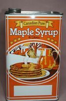 MAPLE SYRUP TIN/CAN  CANADIAN PURE  HORSE DRAWN SLEIGH GRAPHIC  4 LITRES VINTAGE