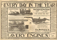LARGE 1907 AVERY 22 HP & 16 HP TRACTION STEAM ENGINE AD PEORIA IL ILLINOIS