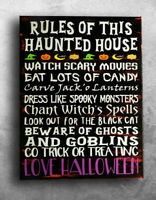 Halloween Haunted House Family Rules Painted Canvas Wall Decor Sign