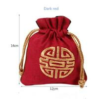 10pcs Vintage Storage Bags Chinese Tradition Pouch Embroidery Jewels Organizer