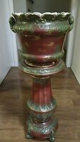 ANTIQUE RARE 2 PC JARDINIERE DAVID F. HAYNES Baltimore Pottery Base