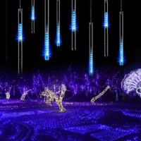 LED Meteor Shower Lights Outdoor Falling Rain Drop Icicle String Waterproof Blue