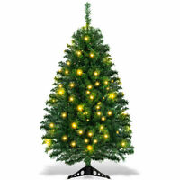4Ft Pre-Lit Artificial Christmas Tree Charlie Pine w/ Plastic Stand