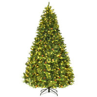 8Ft Pre-Lit Artificial Christmas Tree Hinged with 600 LED Lights