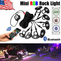 8PCS Pods Rock Light RGB LED Offroad Wireless Bluetooth Music for Jeep ATV Boat