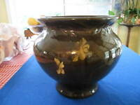 WELLER DICKENS WARE FLOWERED JARDINIERE, MARKED, 10 3/4